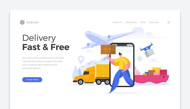 Globale homepage-vorlage für schnellen und kostenlosen versand. hochwertige online-logistiklieferwaren auf der ganzen welt. hochgeschwindigkeits-internationale verteilung warenversand kundenpostämtervektorbanner.