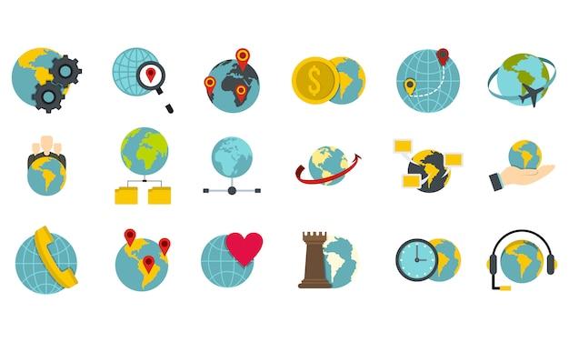 Globale icon-set. flacher satz der globalen vektorikonensammlung lokalisiert