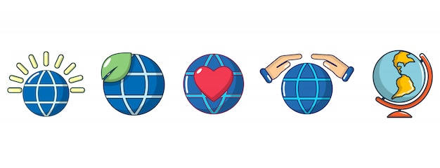 Globale icon-set. karikatursatz der globalen vektorikonensammlung lokalisiert