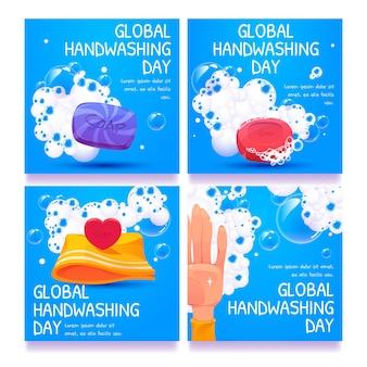 Globale instagram-beiträge zum tag des händewaschens im flachen design