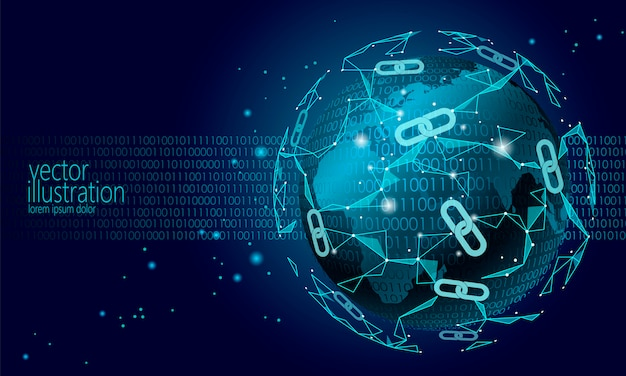Globale internationale blockchain-kryptowährung, planet space low poly