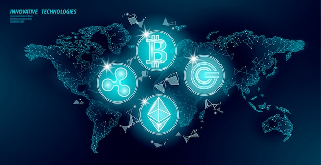 Globale internationale blockchain-kryptowährung. weltkarte low poly modern future finance banking design. polygonales dreieck bitcoin ethereum welligkeit gcc geschäftsillustration