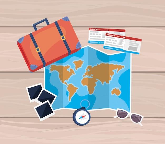 Globale karte mit aktentasche und tickets mit sonnenbrille und fotos