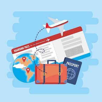 Globale karte mit tickets und reisepass mit dem flugzeug