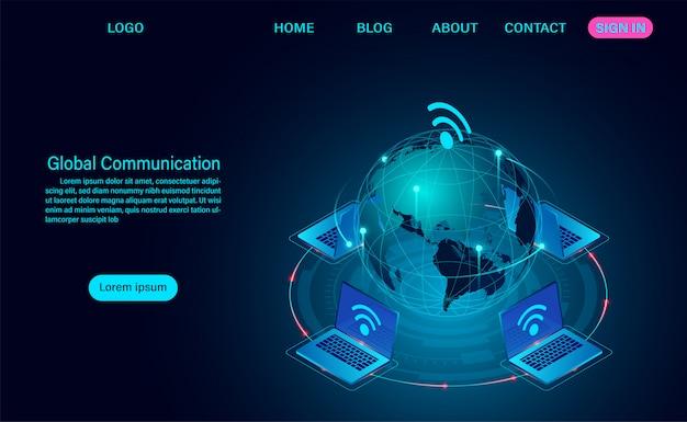 Globale kommunikation internet-netzwerk rund um den planeten web-vorlage