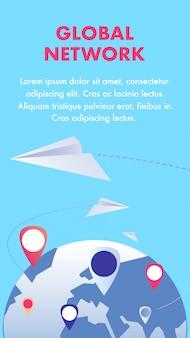 Globale kommunikationsnetzwerk-flyer-flache vorlage