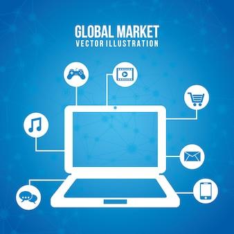 Globale marketing-ikonen über blauer hintergrundvektorillustration
