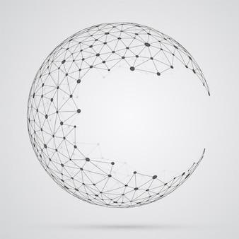 Globale maschenkugel, abstrakte geometrische form mit kugelförmigem seve