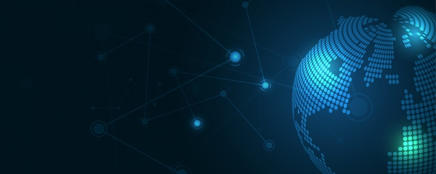 Globale netzwerkverbindung globale geschäftsinnovation des weltkartenzusammenfassungs-technologiehintergrundes