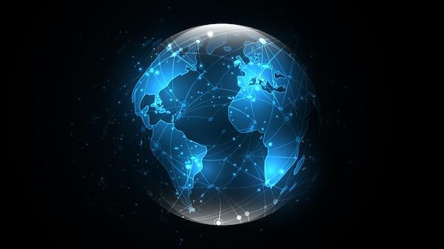 Globale netzwerkverbindung hintergrund der abstrakten technologie der weltkarte Premium Vektoren