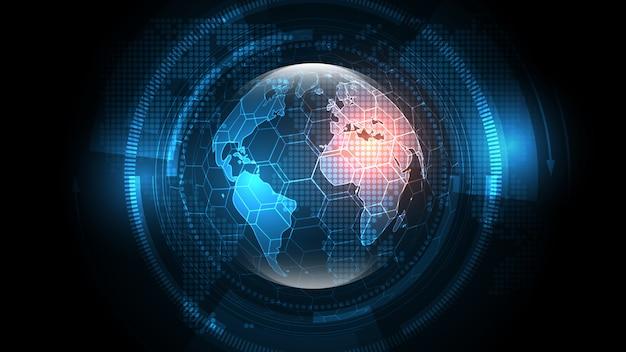 Globale netzwerkverbindung hintergrund der abstrakten technologie der weltkarte