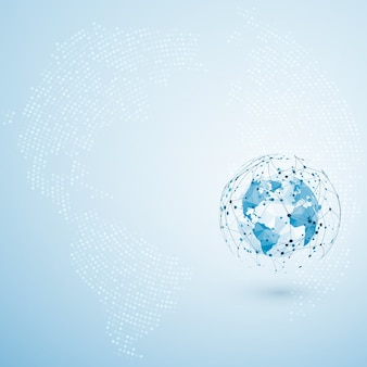 Globale netzwerkverbindung. punkt- und linienzusammensetzung der polygonalen weltkarte. konzept des globalen geschäfts.