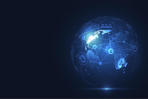 Globale netzwerkverbindung. punkt- und linienzusammensetzung der weltkarte