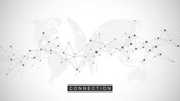 Globale netzwerkverbindung. soziale netzwerkkommunikation im globalen geschäft. weltkartenpunkt- und linienkompositionskonzept. vektor-illustration.