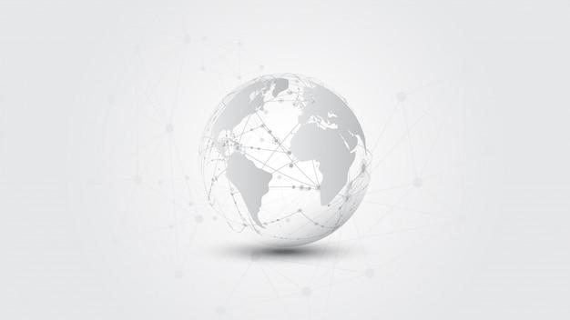 Globale netzwerkverbindung weltkarte abstrakte technologie banner hintergrund