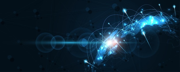 Globale netzwerkverbindung weltkarte abstrakter technologiehintergrund globales geschäftsinnovationskonzept