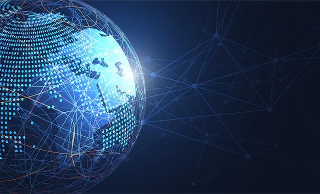 Globale netzwerkverbindung. weltkarte punkt hintergrund