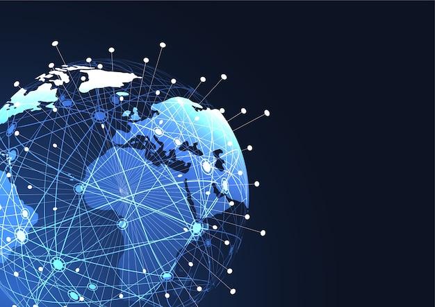 Globale netzwerkverbindung weltkarte punkt und linie