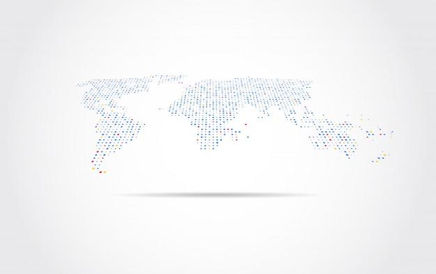 Globale netzwerkverbindung. weltkarte punkt