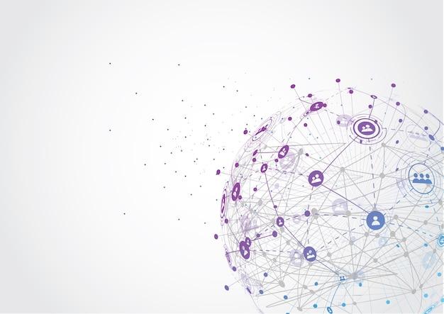 Globale netzwerkverbindung weltkarte punkt