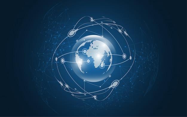 Globale netzwerkverbindung weltkarten-zusammenfassungs-technologiehintergrund
