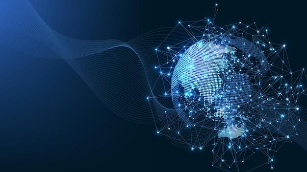 Globale netzwerkverbindung. weltkartenpunkt- und linienkompositionskonzept des globalen geschäfts. internet technologie. soziales netzwerk. vektor-illustration.