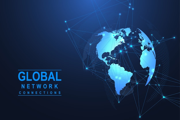 Globale netzwerkverbindung. weltkartenpunkt- und linienkompositionskonzept des globalen geschäfts. internet technologie. soziales netzwerk.