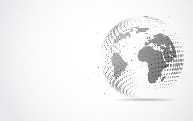 Globale netzwerkverbindung. weltkartenpunkt- und linienzusammensetzung
