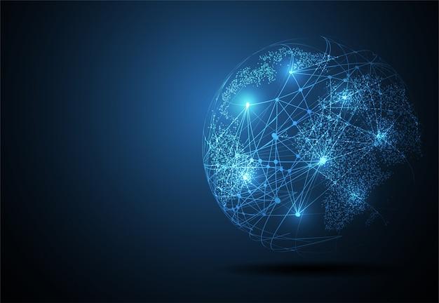 Globale netzwerkverbindung, weltkartenpunkt