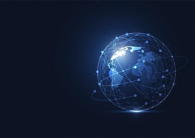 Globale netzwerkverbindung. weltkartepunkt und linie zusammensetzungskonzept