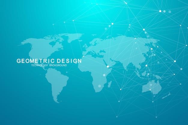 Globale netzwerkverbindungen mit punkten und linien. hintergrund der internetverbindung. abstrakte verbindungsstruktur. polygonaler raumhintergrund. vektor-illustration