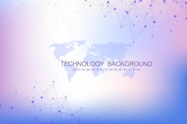 Globale netzwerkverbindungen mit weltkarte. hintergrund der internetverbindung. abstrakte verbindungsstruktur. polygonaler raumhintergrund. vektor-illustration.