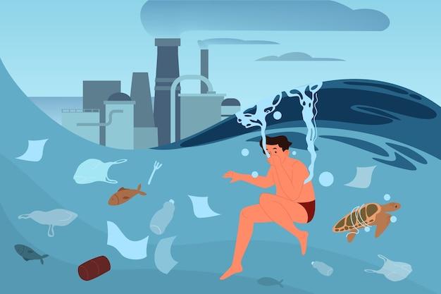 Globale ökologieproblemillustration. umweltverschmutzung, ökologische katastrophe, erde in gefahr. industrielle verschmutzung von luft und wasser.