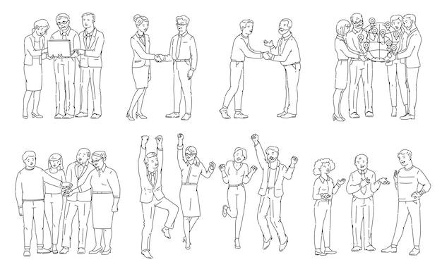 Globale partnerschaft und teamwork strichzeichnung set - cartoon geschäftsleute feiern erfolg, händeschütteln und zusammenarbeiten - illustration