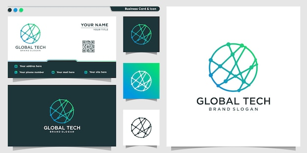 Globale tech-logo-vorlage mit strichzeichnungen-konzept