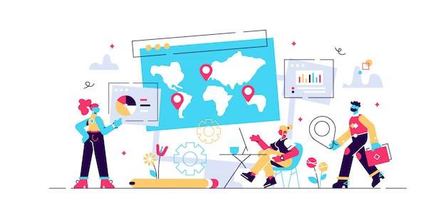 Globale unternehmensforschung, internationale strategie zur unternehmenserweiterung. social media dashboard, online-marketing-oberfläche, social media metrics-konzept. isolierte konzept kreative illustration