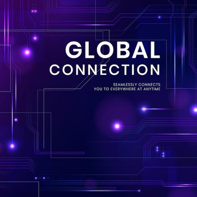 Globale verbindungstechnologie-vorlage mit digitalem hintergrund