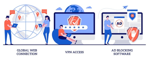 Globale webverbindung, vpn-zugang, werbeblocker-software. satz von netzwerkzugriff, remote-proxy-server