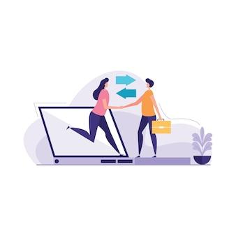 Globale zusammenarbeit auf der internet-illustration