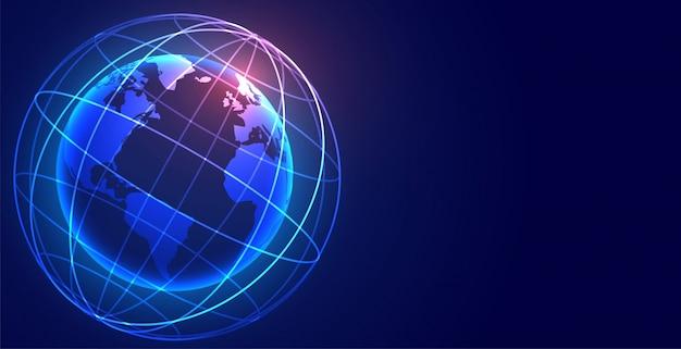 Globaler digitaler erdnetzanschlusstechnologiehintergrund Kostenlosen Vektoren