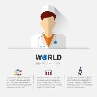 Globaler feiertagsfahne arzt-health world day with copy space
