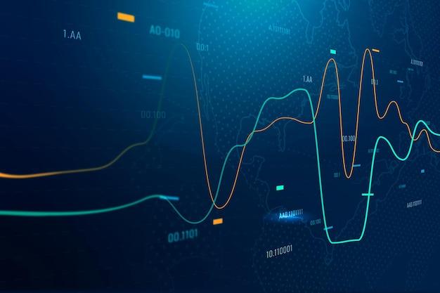 Globaler geschäftshintergrund mit aktiendiagramm in blauton