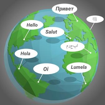 Globaler hallo-tag-hintergrund, karikaturstil