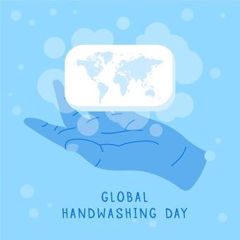 Globaler handwaschtaghintergrund des flachen designs mit händen und seifenstück