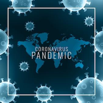 Globaler hintergrund der coronavirus-pandemie mit viruszellenrahmen
