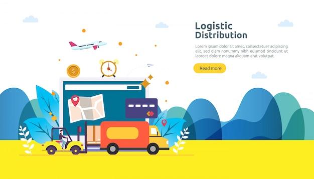 Globaler logistik-distributionsservice und weltweite versandbanner mit personencharakter