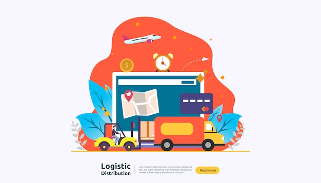 Globaler logistikvertriebsservice und weltweiter versandbanner mit menschencharakter