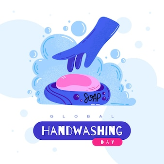 Globaler tag des händewaschens. wasche deine hand. gekritzel-vektor-illustration.