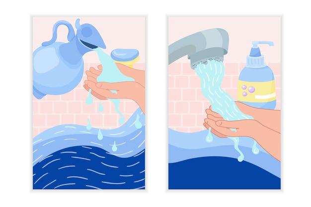 Globaler tag des händewaschens. waschen sie ihre hände mit wasser und seife.