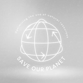 Globaler umweltlogovektor mit retten sie unseren planetentext